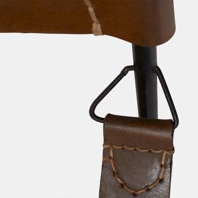 Jacques Adnet safari chair and ottoman set - Image 8 of 8