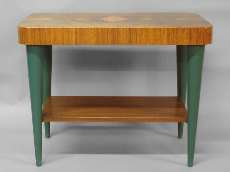Pair of art deco moderne burl top tables by gilbert rohde image 2 of 4