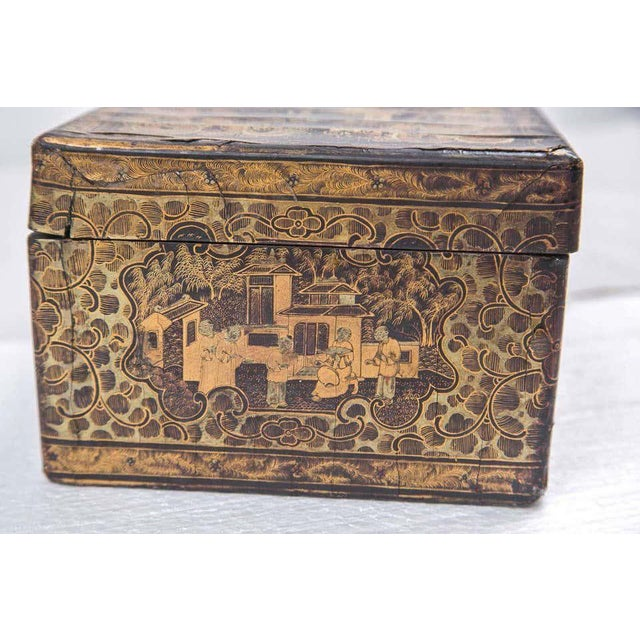 19th Century Chinoiserie Antique Humidor Jewelry Box For Sale - Image 9 of 12