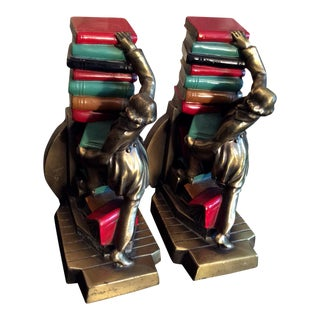 Vintage K&o Bronze Polychrome Bookends - a Pair For Sale