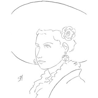 "Sarah Myers ""Woman in a Large Hat"" Line Drawing For Sale"