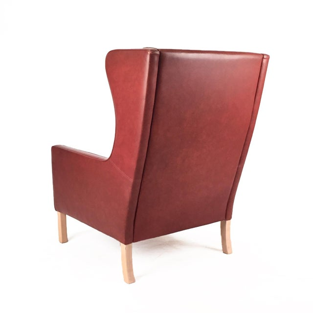 Stouby 1960s Danish Modern Mogensen Highback Brick Red Leather Lounger For Sale - Image 4 of 7