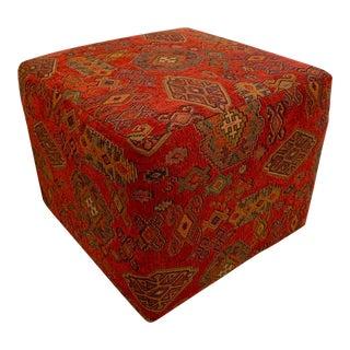 Custom Upholstered Kilim Ottoman For Sale