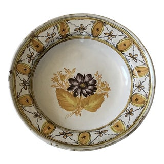 Mid to Late 1800s Belgian Hand Painted Ceramic Pottery Bowl For Sale