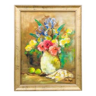 Vintage Impressionist Oil on Canvas Botanical For Sale