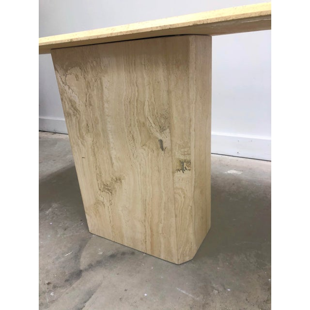 Italian Modern Beveled Travertine Console Table For Sale - Image 6 of 12