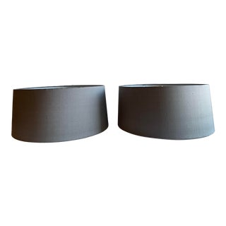 Pair of Custom Gray Dupioni Silk Drum Lampshades For Sale