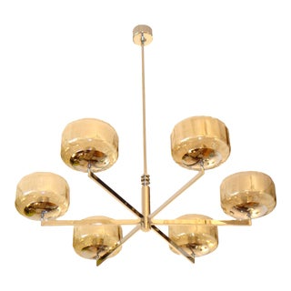 Vintage Italian Chandelier by Sciolari Glass Shades For Sale