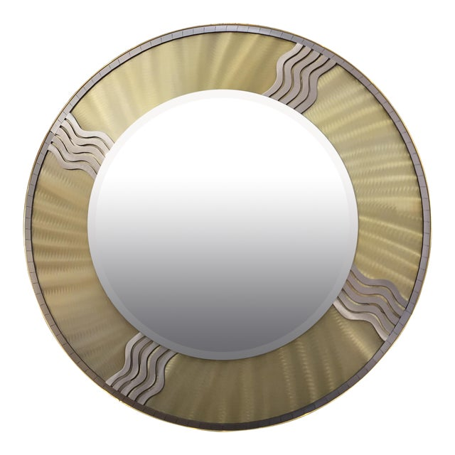 Art Deco Silver & Gold Metal Mirror - Image 1 of 10