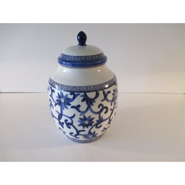 Vintage Ralph Lauren Ginger Jar in Blue and White Mandarin Blue For Sale In Miami - Image 6 of 6