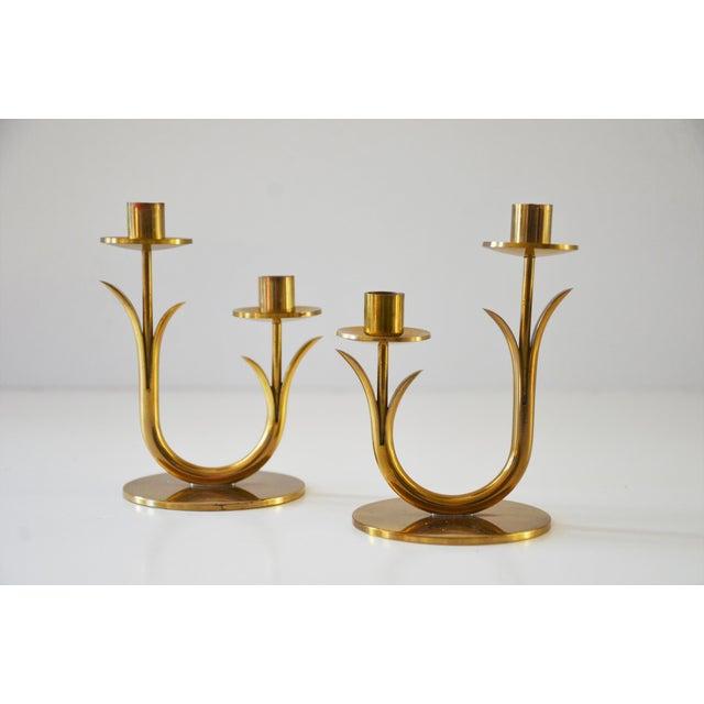 Vintage Scandinavian Modern Brass Candle Holders Designed by Gunnar Ander for Ystad Metall, Sweden. Beautiful vintage...
