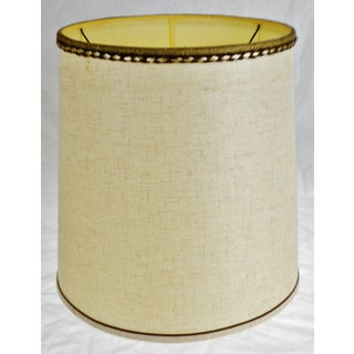Vintage Fabric Drum lampshade W/ Decorative Piping Preview