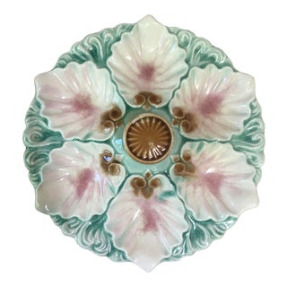 Majolica Handled Oyster Plate Orchies, Circa 1890 For Sale