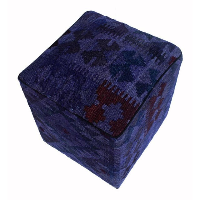 Asian Arshs Delta Purple/Drk. Gray Kilim Upholstered Handmade Ottoman For Sale - Image 3 of 8
