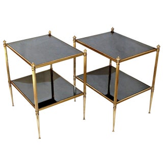 1950s Vintage French Two-Tier Brass Side Tables - A Pair For Sale