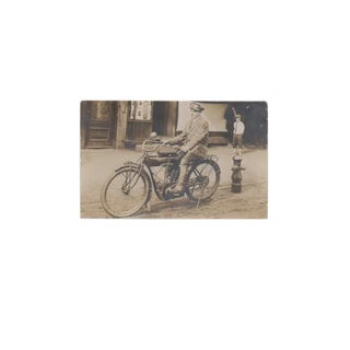 Early 20th Century Antique Indian Motorcycle Photograph For Sale