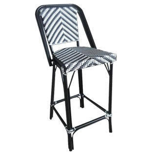 Black & White Indoor & Outdoor Aluminum Frame Bistro Bar Chair