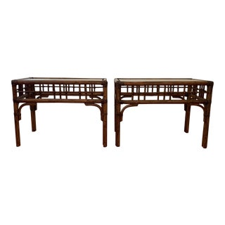 Vintage Mid Century Bamboo Rattan Side Tables - a Pair For Sale