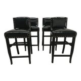 Image of Late 20th Century Vintage Black Patent Bar Stools- Set of 4 For Sale