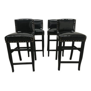 Late 20th Century Vintage Black Patent Bar Stools- Set of 4 For Sale