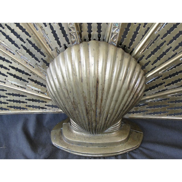 Brass Sea Shell Folding Fireplace Screen - Image 5 of 8