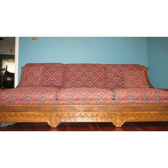 Romweber Viking Oak Carved Wood Low-Arm Sofa - Image 11 of 11