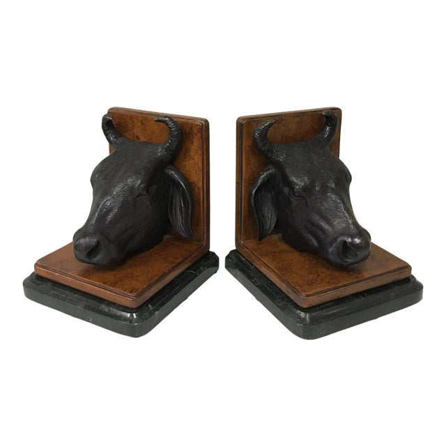Vintage Maitland Smith Bull Bookends - a Pair For Sale