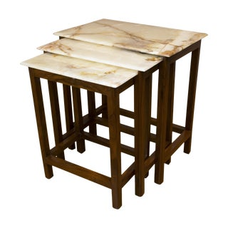 Boston Mills Tyl Onyx & Rosewood Nesting Tables - Set of 3 For Sale