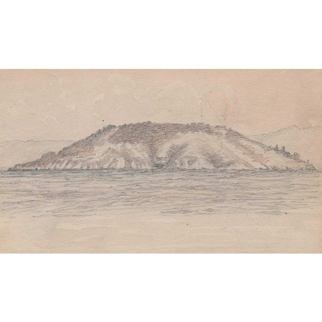 Realism 1920s California Island Harbor Drawing by Benjamin Harnett For Sale - Image 3 of 3