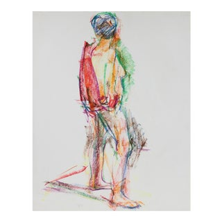 Colorful Abstracted Figure in Wax Crayon, 1980 For Sale