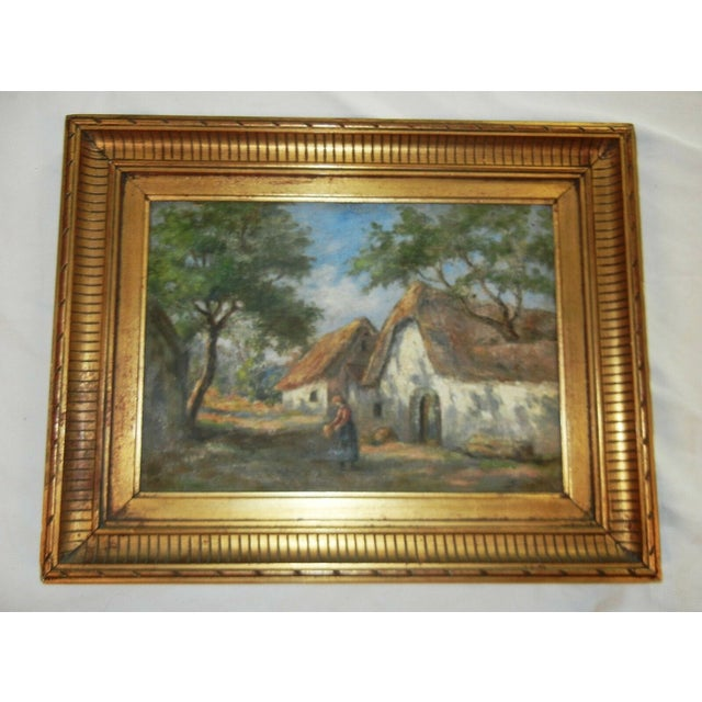 Offered here is a Beautiful Framed Vintage Argentinian Oil on Canvas Painting of a Rural Scene. This very energetic...