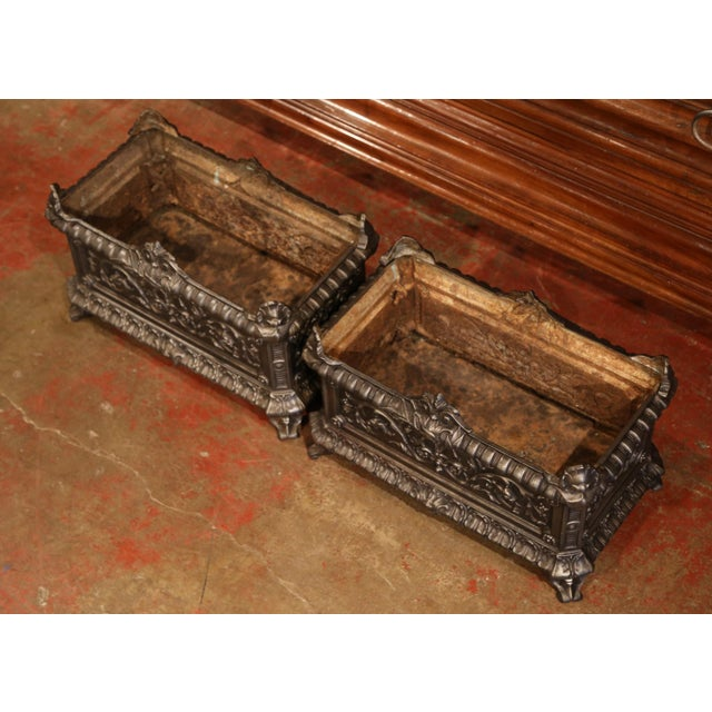 French 19th Century French Polished Iron Outdoor Jardinières With Raised Decors - a Pair For Sale - Image 3 of 11
