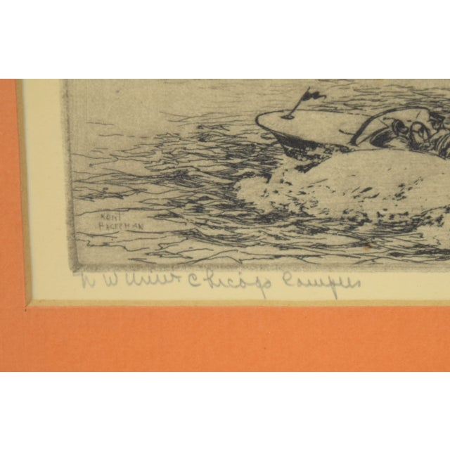 1950s 1950's William Kent Hagerman Chicago Lakefront Skyline Speedboat Etching Print For Sale - Image 5 of 10