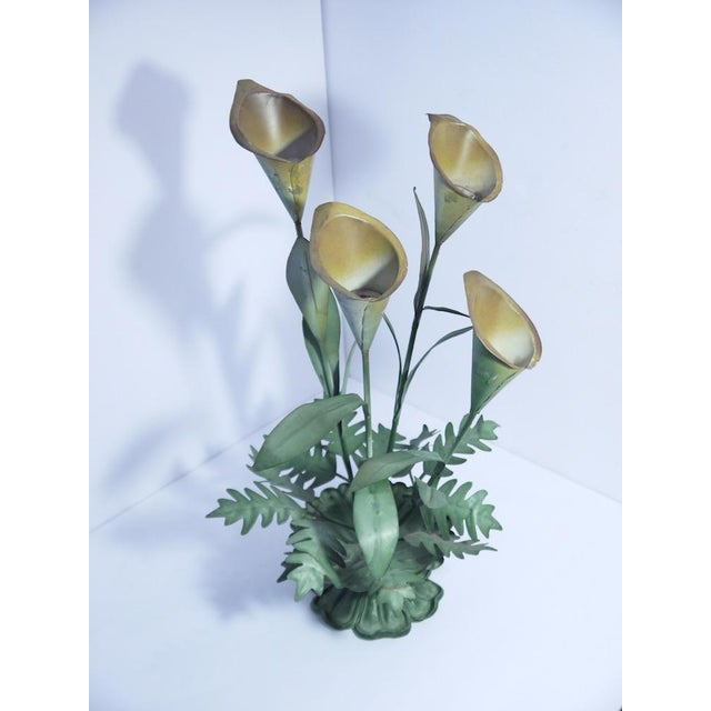 Cottage Vintage Calla Lilly Candle Holder For Sale - Image 3 of 5