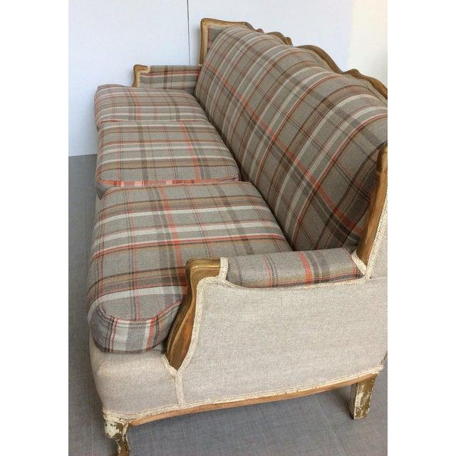 French-Style Tartan Wool Sofa - Image 4 of 6