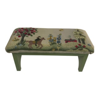 1970s Vintage Handmade Embroidered Foot Stool For Sale