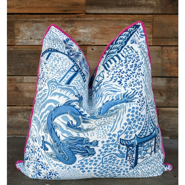 Chinoiserie Blue & White Trend Dragon Pillow Covers For Sale - Image 4 of 4