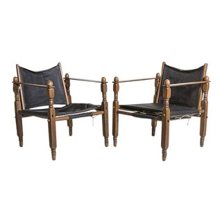 Danish Modern Arne Norell Style Safari Chairs, a Pair For Sale