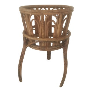 1970s Vintage Rattan Bamboo Plant Stand Holder For Sale