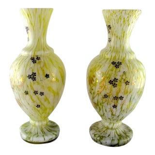 VintageWelz Spatter Glass Vases - a Pair For Sale