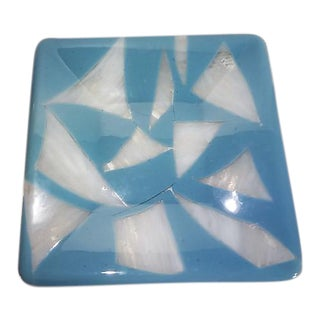 Ocean Blue Aqua Fused Art Glass Platter Plate, Signed For Sale