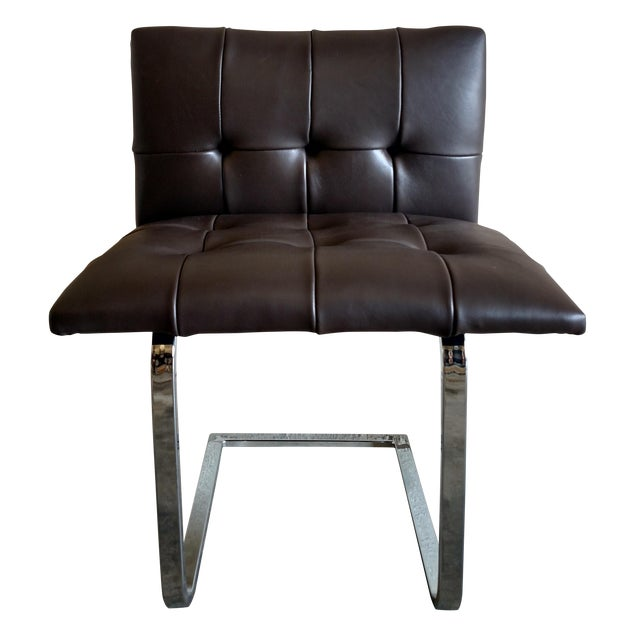 Tufted Dark Cowhide Leather Chair - Image 1 of 5