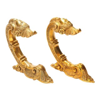 French 19th Century Beautiful Pair of Bronze Figural Wall Brackets For Sale
