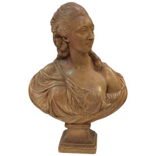 Mid 19th Century Vintage Artist Signed Madame Du Barry Terracotta Bust For Sale