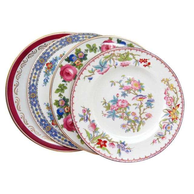 Vintage Mismatched Fine China Dinner Plates - Set of 4 - Image 1 of 10