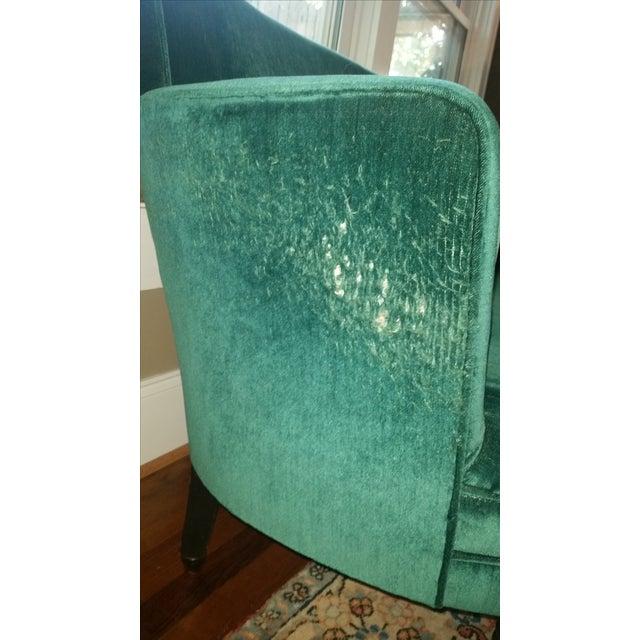 Teal Green Velvet Love Seat For Sale - Image 4 of 5