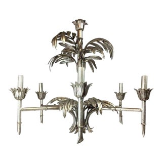 1960s Silver Leaf Palm Faux Bamboo Chandelier For Sale