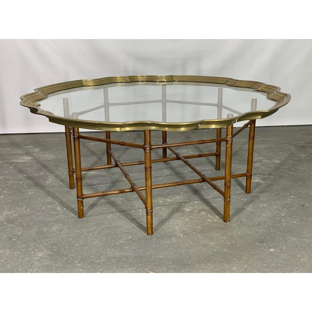 Gold Faux Bamboo Coffee Table With Brass and Glass Top For Sale - Image 8 of 8
