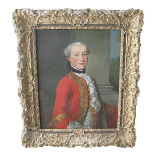 18th-Century Framed Portrait Painting For Sale