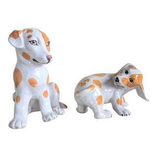 Vintage Handmade Italian Ceramic Dog Figurines - A Pair For Sale